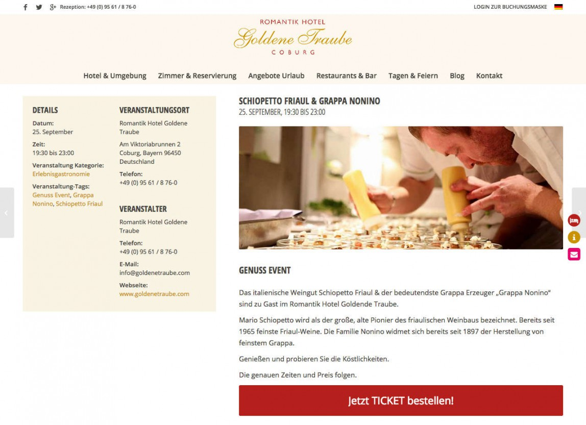 Vermarktung Events Hotel Website
